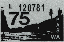 1975 WASHINGTON Vinyl Sticker Decal -CAR/Passenger License Plate Reg.TAB TAG-New