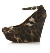 Sam Edelman 6.5 Quinn Wedge Platform Mary Jane Satin Animal Print Heels Leopard