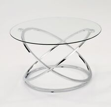 Monarch Clear Glass Round Coffee Table With Chrome Base-CFT36/CH