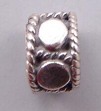 Bali Sterling Silver Beads Large Hole B642 (5)  4x6mm, 3mm Hole Dots