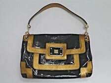 ANYA HINDMARCH Lautner black patent and gold leather handbag
