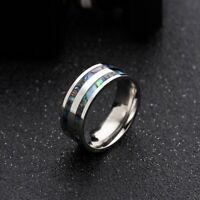 Fashion Men's Titanium steel Ring Abalone Shell Inlay Wedding Band Punk Jewelry