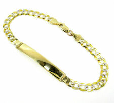 4.60Grams 3.7mm-8''Mens/lady10k-Yellow-Gold-Curb Pave Cuban-Miami-Solid-ID-Brace