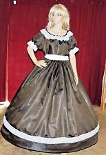 CIVIL WAR VICTORIAN REENACTMENT Olive Green Antique Satin Costume Dress Gown