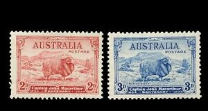 SG150/1 - 1934 Australia 2d Carmine-red & 3d Blue - Mint Unhinged Stamps - 602a