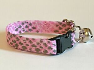 PINK REPTILE PRINT CAT OR KITTEN COLLAR (you choose the size)