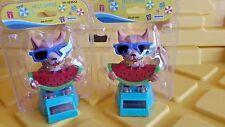 2pc Solar power Watermelon Summer Dog Chihuahua Bobblehead toy gift car office