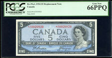 1954 Bank of Canada $5 Replacement Note - PCGS Gem New 66PPQ - S/N: *A/C0020820