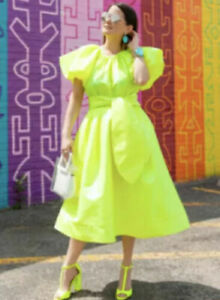 Christopher John Rogers Puff Sleeve Tie Waist Volume Dress Yellow S