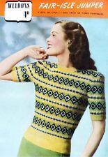 Fair Isle Suéter Tejer patrón copia para hacer Señoras Jumper Top 1940s tiempos de guerra