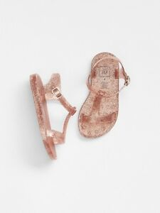 GAP Baby / Toddler Girl Size 8 Rose Gold T-Strap Jelly Sandals Water Beach Shoes