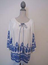 Anthropologie Pink Owl Apparel Boho Blouse White Blue Border Print Tie Front L
