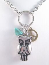 New Retro Vintage Style Owl Peace Sign Necklace With Turquiose Bead #N2248