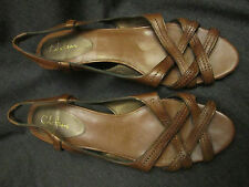 Cole Haan Nike Air Brown Leather Strappy Sandals Size 10 B Wood Heels VGUC