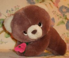 "Russ Berrie Plush Light Carmel Brown Girl Bear Brandy 6.5"" Lying W/ Flower Ex!"