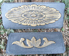 2 embellishment molds plaster fimo clay wax casting oval and leaf accent moulds