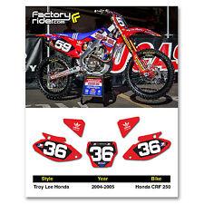 2004 - 2005 HONDA CRF 250 Dirt Bike Graphics Motocross Custom Number Plates TLD