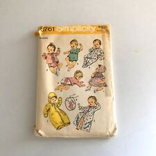 Simplicity Vintage sewing pattern #8761 Babies' Outfit Layette Patterns Newborn