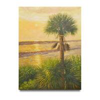 NY Art - Big Palm Tree Beach Scene 36x48 Original Oil Painting on Canvas - Sale!