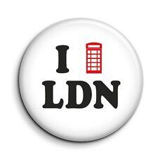 I Love London Phone Box Cute Funny Button Pin Badge - British Gift 38mm/1.5 inch