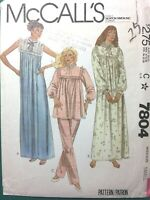 1980s Sewing Pattern Ruffled Nightgown Long PJs McCalls #7804 Size Small ONE SZ