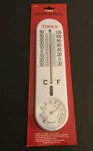 """NIB Timex 11.5"""" Indoor/Outdoor Tube Thermometer W/Hygrometer"""