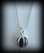 Silver Tone Necklace Lava Bead Charm Diffuser Essential Oil Small Ball Chain RTS