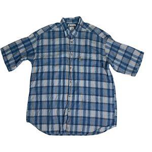 Columbia Mens Sz 2XL Blue 100% Cotton Button Down Plaid Short Sleeve Shirt