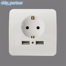 EU Wall Socket Switch Double USB Charger Socket Adapter Power Outlet Steckdosen