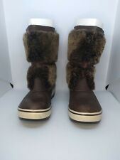 UGG WOMENS LILYAN WATERPROOF SNOW LEATHER FUR BOOTs BROWN SIZE 5