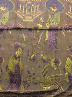 """Vintage Woven Japanese/Chinese/Asian 84"""" x 64"""" Tablecloth w/Fringe Purple/Yellow"""