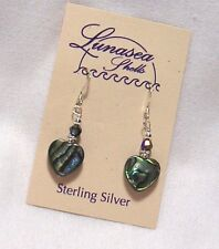 LUNASEA TREASURES ABALONE SHELL HEART BEADED STERLING SILVER EARRINGS PRETTY