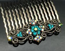 Tilt Green Blue Crystal Diamante Vintage Formal Wedding Crystal Hair Comb Clip