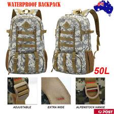 50L Waterproof Camping Backpack Hiking Bag Army Trekking Rucksack Gear Outdoor