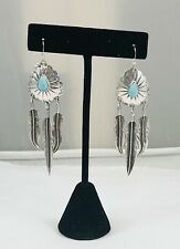 Silver Turq Feather Dangle Earrings Beautiful Vintage Native American Sterling