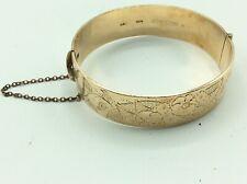 Fantastic Antique Vintage Ornate 9ct Gold METAL CORE Wide Cuff Bangle Bracelet