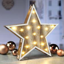 Deko Holz Stern 30cm - 16 LED - Weihnachtsstern beleuchtet Tischdeko Fensterdeko