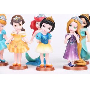 1 Set of 6 Disney Princess Mermaid Rapunzel Snow White Figures Dolls Toy 9-10cm