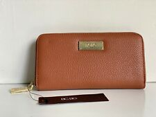 NEW! BCBG PARIS COGNAC BROWN ZIP AROUND ZIPPY CLUTCH WALLET PURSE $50 SALE
