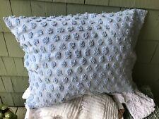 blue vint chenille pillowcase deco mid century zipper 21x26 standard size case
