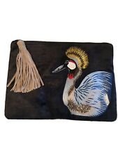 SAM EDELMAN Navy Blue Velvet Embroidered BIRD Clutch NWT