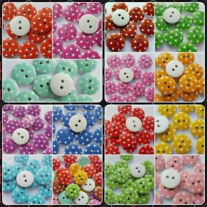 Polka Dots Round Shape Colour 2-Hole Wooden Sewing Craft Scrapbook Buttons - UK