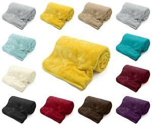 Fleece Blanket Large Sofa Throw Soft Warm Faux Fur Mink Single Double King Size