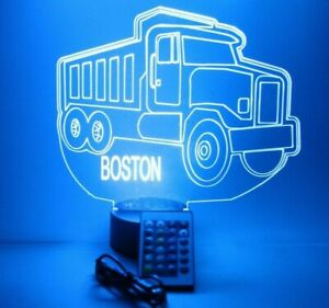 Dump Truck Night Light Up Table Lamp LED Personalized Paving Vehicle With Remote