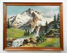 LARGE VINTAGE SNOWY MOUNTAIN SCENE & CREEK PAINT BY NUMBER FRAMED painting