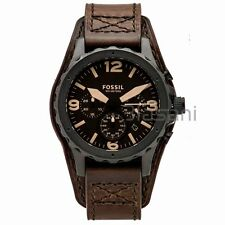 Fossil Original JR1511 Men's Nate Dark Brown Leather Watch 46mm Chronograph