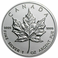 Moneda de plata Canadian Maple Leaf, 1 oz., 2002) 5 dólares Isabel II