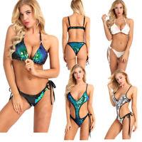 Women Sequins Brazilian Swimsuit Monokini Beach Swimwear Bikini Set Bathing Suit