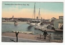 [60597] OLD POSTCARD PENOBSCOT RIVER FROM BREWER FERRY SLIP, MAINE