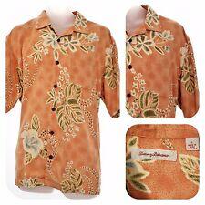 Tommy Bahama Hawaiian LARGE Mens Shirt 100% SILK Floral Short Sleeve L Camp S/S